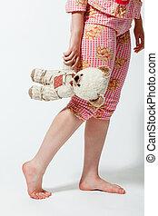 girl with teddy bear - grown-up girl with a teddy bear in...