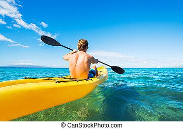 Kayaking - Man Kayaking in the Tropical Ocean
