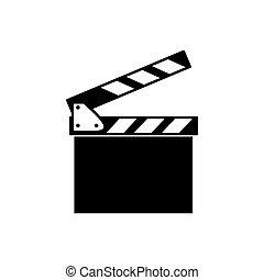 Clapper board icon - Black vector clapper board isolated on...