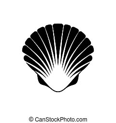 Scallop seashell icon - Black vector scallop seashell icon...