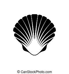 Scallop seashell icon - Black vector scallop seashell icon...