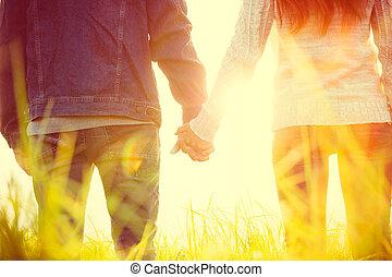 ung, par, In, kärlek,