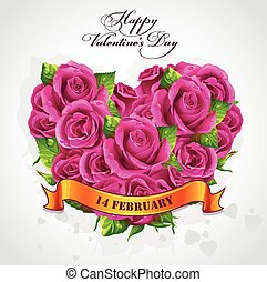 Greeting card Happy Valentines Day with a heart of roses