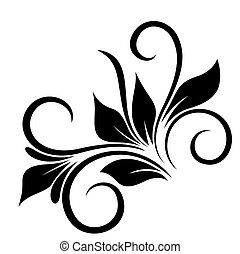 Floral Element Design - Decorative Fancy Curled Swirl...