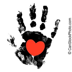 Grunge Hand Heart Design - Grunge Hand Print with Heart...