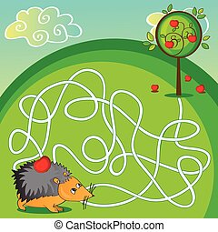 Maze for kids - help the hedgehog to get to the apple - Maze...