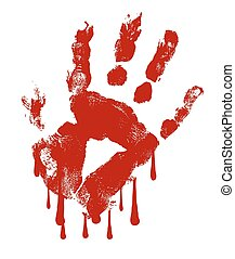 Hand Print Blood Dripping Vector