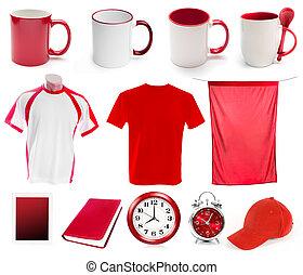 collage, oggetti, rosso