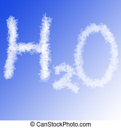 h2o on blue sky  -  chemical formula of wter in blue sky