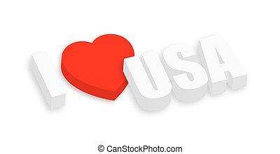 I Love USA 3d Text Banner