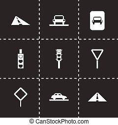 Vector road icon set on black background