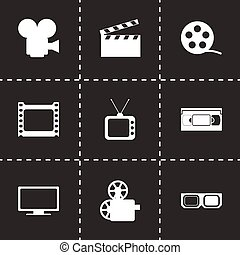 Vector movie icon set on black background