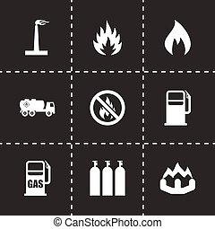 Vector natural gas icon set on black background