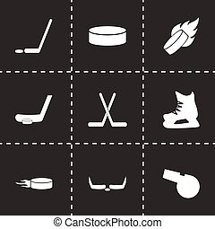 Vector hockey icon set on black background