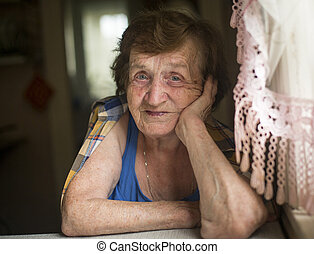 Portrait of elderly woman.