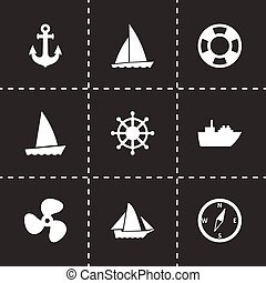 Vector ship and boat icon set on black background