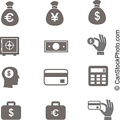 Money and coin icon set vector eps10 illustration