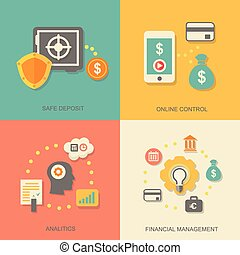 Vector icons of financial analytics, online banking and...