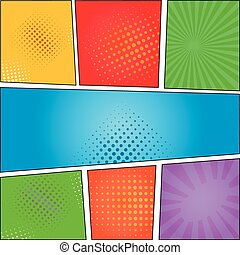 Comics pop art style blank layout template with clouds beams...