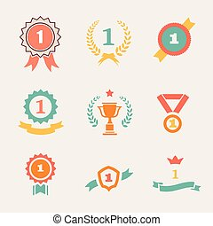 First Place Badges and Ribbons vector illustration