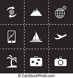 Vector travel icon set on black background