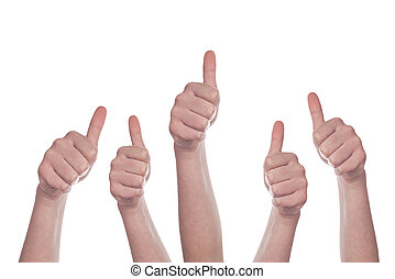 Thumbs up on white background - Caucasian white group of...