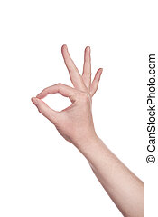 Hand making OK sign - Caucasian white female hand making OK...