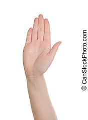 Hand making Stop sign on white background - Caucasian white...