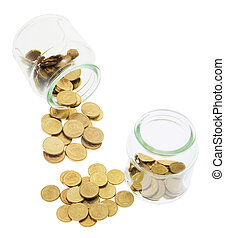 Glass Jars with Coins