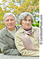 Elderly couple walking in the park - Cute elderly couple...