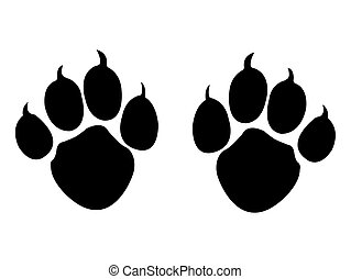 Animal Paws - Abstract Retro Animal Paws Vector Silhouette