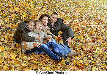 cheerful family of four relaxing in the park in autumn