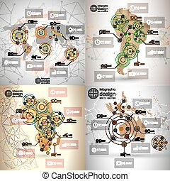World maps set, infographic templates for business design,...