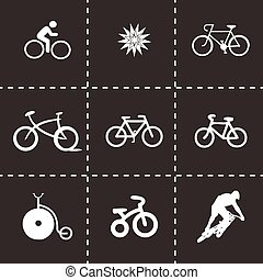Vector bicycle icons set on black background