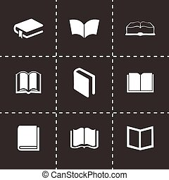 Vector schoolbook icons set on black background