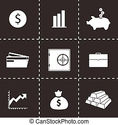Vector bank icons set on black background