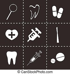Vector dental  icons set