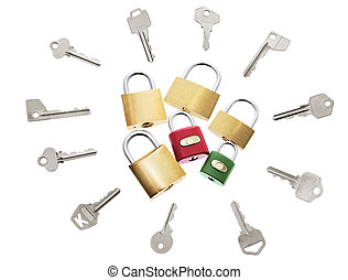 Locks and Keys on Isolated White Background