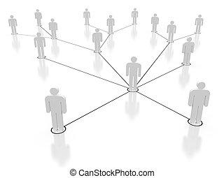 Social network in white, 3d render