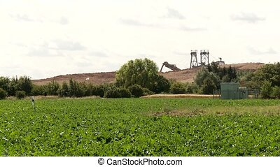 Coal Mining with a bucket-wheel excavator - Video footage of...