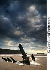 verano, viejo, naufragio, imagen, ocaso, playa, paisaje