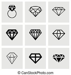 Vector diamond icons set on grey background