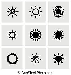 Vector sun icon set on grey background