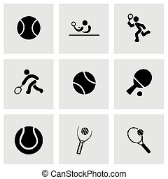 Vector tennis icon set grey background