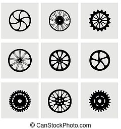 Vector wheel icon set on grey background