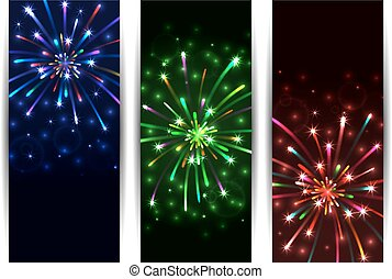 Colorful firework banners - Illustration of colorful festive...