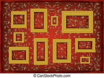 Golden frames on ornamental background
