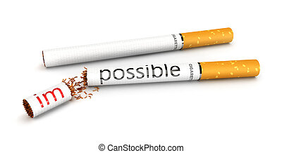 3d stop smoking concept, impossible to possible, isolated...
