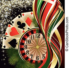 Christmas casino banner with poker cards, vector
