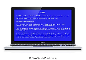 Laptop with OS blue critical error screen - Business laptop...